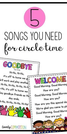 Bring songs into your preschool circle time routine. Get 5 songs ideas, two free printable songs and audio files at this post. #startadaycare