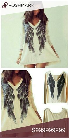 Coming Soon! Angel Wings Tunic Love, love, love this tunic! Tunic is thicker than a typical t-shirt. Perfect to wear for when the weather cools down. Materials: 35% Cotton 65% Polyester Tops