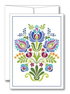This is an image created in Adobe Illustrator and inspired by the beautiful folk art of Hungary. --Size: 5 x 7 folded card --Includes envelope --Blank inside --Comes in a protective plastic sleeve --Printed on 60lb. Premium matte card stock