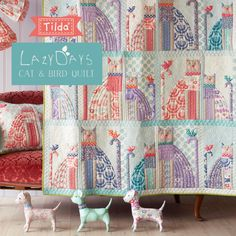 Quilt Inspiration: Free pattern day: Cat and Dog quilts! Charm Pack Patterns, Cat Quilt Patterns, Cloth Patterns, Square Patterns, Bag Patterns, Sewing Patterns, Dog Quilts, Baby Quilts, Animal Quilts
