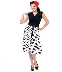 1950s Style Beige & Black Dotted High Waist Ramsey Swing Skirt