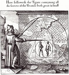 'Atalanta Fugiens' Emblem 21 - Michael Maier 'Make of the man and woman a Circle, of that a Quadrangle, of this a Triangle, of the same a Circle and you will have the Stone of the Philosophers'. Isaac Newton, Alchemy Tattoo, Alchemy Art, Albert Le Grand, Squaring The Circle, Philosophers Stone, A Discovery Of Witches, Merian, Art Graphique