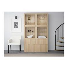 $800 BESTÅ Storage combination w glass doors - Lappviken/Sindvik white stained oak eff clear glass, drawer runner, soft-closing - IKEA