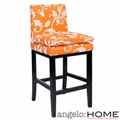 angelo:HOME Marnie Pumpkin Blossom Upholstered 30-inch Bar Stool