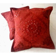 (SKU no: kmic 2006e) 2 Red Handcrafted Ethnic Mirror Work Embroidery Indian Throws Pillow Cases Toss Cushion Covers, Krishna Mart India