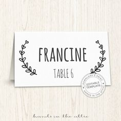 Wedding place cards editable seating cards printable seating cards laurel wreath escort cards TEMPLATE DIGITAL download PDF format by HandsInTheAttic