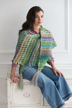 Broomstick Lace Shawl – Noro Magazine, design by Carolyn Calderon, The Purple Poncho (photograph by Jack Deutsch)