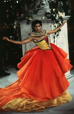 Christian Dior Haute Couture S/S 97 Paris. Massai flower. [CORRECTION: I misidentified the inspiration at Massai - its actually based on beaded corsets worn by the Dinka people who come from the Nile basin.