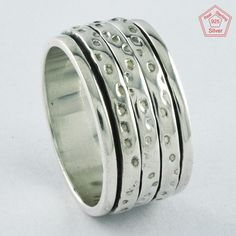 Sz 8.5 US,DOTTED DESIGN 925 STERLING SILVER SPINNER RING,R4444 #SilvexImagesIndiaPvtLtd #Spinner #AllOccasions