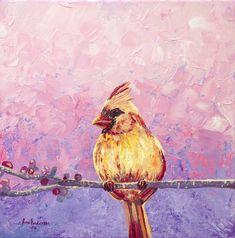 Original Interiors Painting by Nino Ponditerra Original Paintings, Original Art, Oil Paintings, Art Rose, Spring Birds, Cardinal Birds, Bird Artwork, Pink Art, Cute Birds