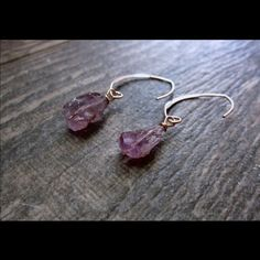 Handmade Artisan Amethyst Rose Gold Drop Earrings Rose Gold Earrings,Rose Gold Hoops,Rose Gold Raw Gemstone,Amethyst Earrings,Amethyst Nugget,Amethyst Hoops,Amethyst Rose Gold Hoop Earrings with a subtle blush color that looks absolutely beautiful on the skin. They are a lighter-colored Amethyst with small flecks of citrine in them which adds a nice texture and look stunning paired with the warm glow of the rose gold. Drop measures about 1.75 inches. Handmade. Handmade Jewelry Earrings