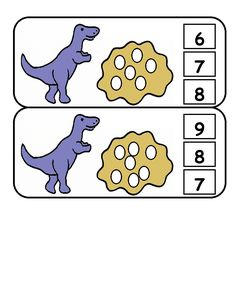 Here's a set of clothespin counting cards with a dinosaur theme.