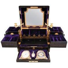 19th Century Asprey Coromandel Jewellery Box with Candle Sticks & Clock