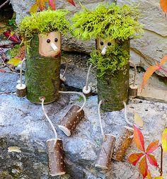 Holzfiguren für Herbst und Winter- süße Trolle basteln