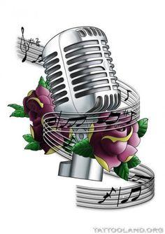Purple Roses Microphone Tattoo Design