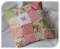 Beautiful Girlhood's beautiful patchwork cushion cover with cross stitched rose motif...