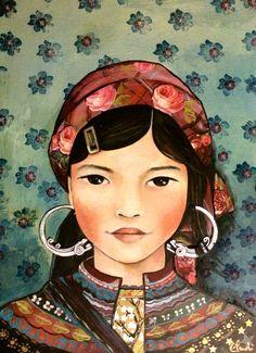Niña de vietnam, gente de Hmong impresión del arte
