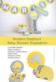 Resultado de imagen para elephant baby shower grey yellow