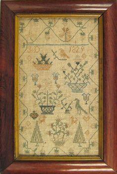 Silk on linen sampler dated 1829