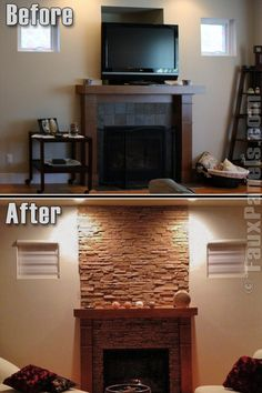 Updating Fireplace With Faux Stone Panels