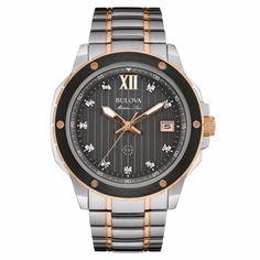 42d7fa07107 Bulova Men s 98D127 Marine Star Diamond Markers Quartz Two Tone Dress Watch   quartz  tone