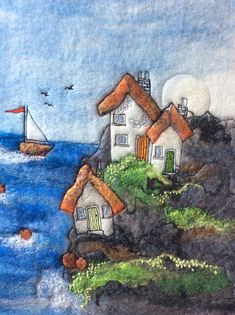 A Cliff Hanger beach art Cornish scene felted by FibreandEarth