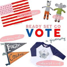 READY SET GO VOTE!  This election is getting exciting and we are hoping that everyone will be getting their vote on!  We teamed up with some friends to create a fun giveaway! Want to win all of these goodies?  What do you need to do?  this photo! comment on  this photo share with 3 friends follow all of these accounts::  @treehousekidandcraft @thesmallobject @blablakidsshop @strawberrymoth  Winner will be announced on 10/25 You must be following all 4 accounts for your entry to count.  This…