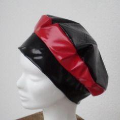 Bonnet béret chapeau turban femme de pluie vinyle rouge et noir Chapeau  Turban, Chapeau De 6227cceacd6