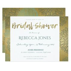 GLAMOROUS BLUE & GOLD DAHLIA PATTERN BRIDAL SHOWER CARD - monogram gifts unique custom diy personalize