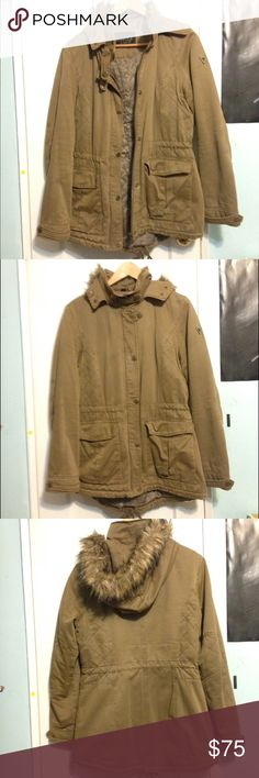 Guess Brown Parka Jacket Faux fur hooded jacket. Worn once. Very comfortable. Long sleeves with two pockets outside and 1 pocket inside. Perfect for the winter :) Guess Jackets & Coats Utility Jackets