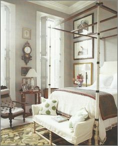 bedroom, four poster bed, gray walls. Images via Veranda Magazine via John About Town