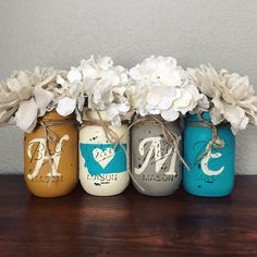 Turquoise and yellow Montana home Mason jar set | rustic home decor