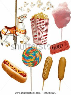 free cartoon graphics fair food   Realistic Carnival Vector Items -  29084020 : Shutterstock