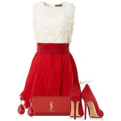 A fashion look from February 2014 featuring short red cocktail dress, charlotte olympia shoes and red clutches. Browse and shop related looks.