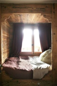 This feels so Norwegian to me.  There always seems to be a bed tucked away into a corner/crannie - they are so cozy.