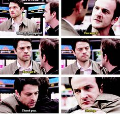 All I want is Gabriel back so there can be more Cas and Gabe (also Sabriel anyone) Supernatural Gabriel, Supernatural Quotes, Supernatural Tv Show, Supernatural Tattoo, Sherlock Quotes, Supernatural Wallpaper, Brotherly Love, Winchester Boys, Comic