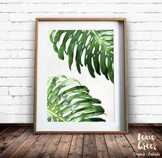Tropical Leaf Print, Philodendron Print, Leaf Photo, Green Leaf Print, Monstera Deliciosa, Printable Art