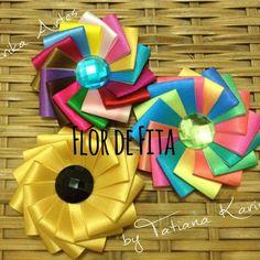 Flor de fita (Ribbon flower) by Tatiana Karina - Tutorial , PAP, DIY