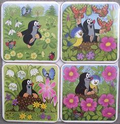 Krtek Mole Maulwurf Czech Cartoon Character Cork Backed Drinks Coaster Mat Set