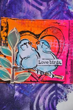"""Dina Wakley Media Cling Stamps 6"""" x 9"""" - Scribbly Birds on Branches"""