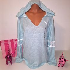 NEW M PINK VS KNIT HOODED LOGO PINK VICTORIA'S SECRET   V NECK KNIT HOODIE WITH LOGO ON BOTH SLEEVES.  GORGEOUS PIECE!!!  COLOR BLUE TEAL  SIZE M  FAST SHIPPING!!!    Check out my other items! I am sure you will find something that you will love it! Thank you for watch!!!!!   Be sure to add me to your favorites list! PINK Victoria's Secret Tops Sweatshirts & Hoodies