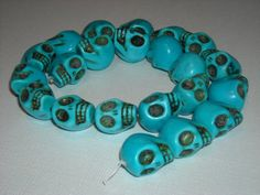 Blue Skull Turquoise imitation beads by NickisBeads on Etsy, (This is dyed, molded magnesite hardened with resin, available in many colors)