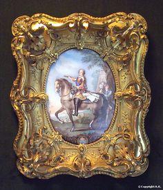 Antique French Porcelain Painted Miniature Portrait Of