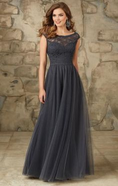 Lace Tulle Grey Bridesmaid Dress BNNCL0000-SheinDressAU