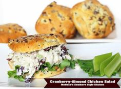 Melissa's Southern Style Kitchen: Cranberry-Almond Chicken Salad, this sounds so yummy bet it would be good with left over turkey as well Real Food Recipes, Great Recipes, Chicken Recipes, Cooking Recipes, Favorite Recipes, Healthy Recipes, Chicken Salads, Dinner Recipes, Lunch Recipes