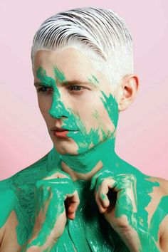 'The Missing Pieces' by Dennis Weber for HUF Magazine Issue 27 Men Photography, Portrait Photography, Fashion Photography, Editorial Photography, Body Painting, Mode Pop, High Fashion Makeup, Fashion Beauty, Male Makeup