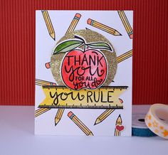 Thank You Teacher  Handmade Card by paperCARDinal on Etsy