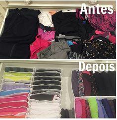 Organizando roupa de ginástica