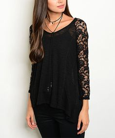 This Black Lace-Sleeve String-Back Top is perfect! #zulilyfinds