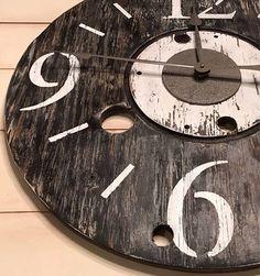 Items similar to Oversized Wall Clock, Farmhouse Clock, Rustic Clock, Spool Clock on Etsy Big Wall Clocks, Wood Clocks, Farmhouse Clocks, Wood Spool, How To Make Wall Clock, Clock Decor, Diy Pallet Furniture, Large Clock, Wooden Diy